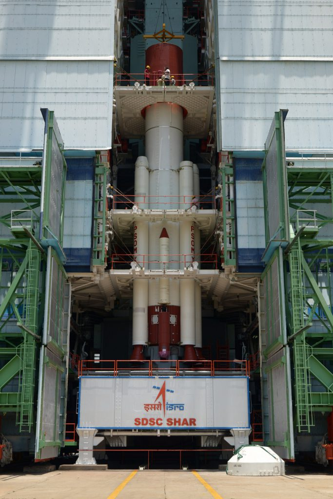 Fully integrated PSLV-C30 core stage with strap-ons mobile service tower