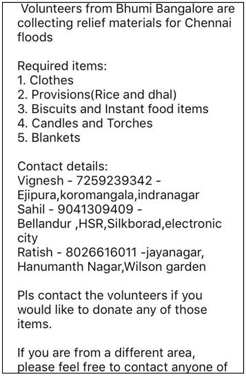 Chennai Flood : Bhumi Banglore Appeal