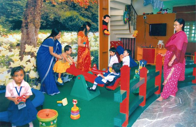 Students of Aaayam learning through play and study