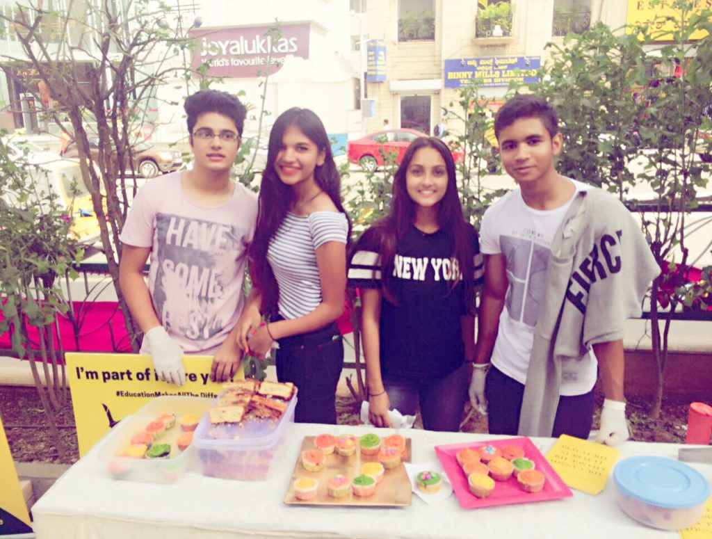 Team Selflessly Yours selling cupcakes at Rangoli Art Centre