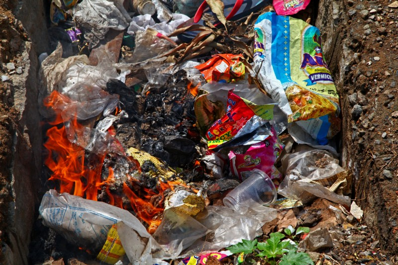 Mixed waste on fire