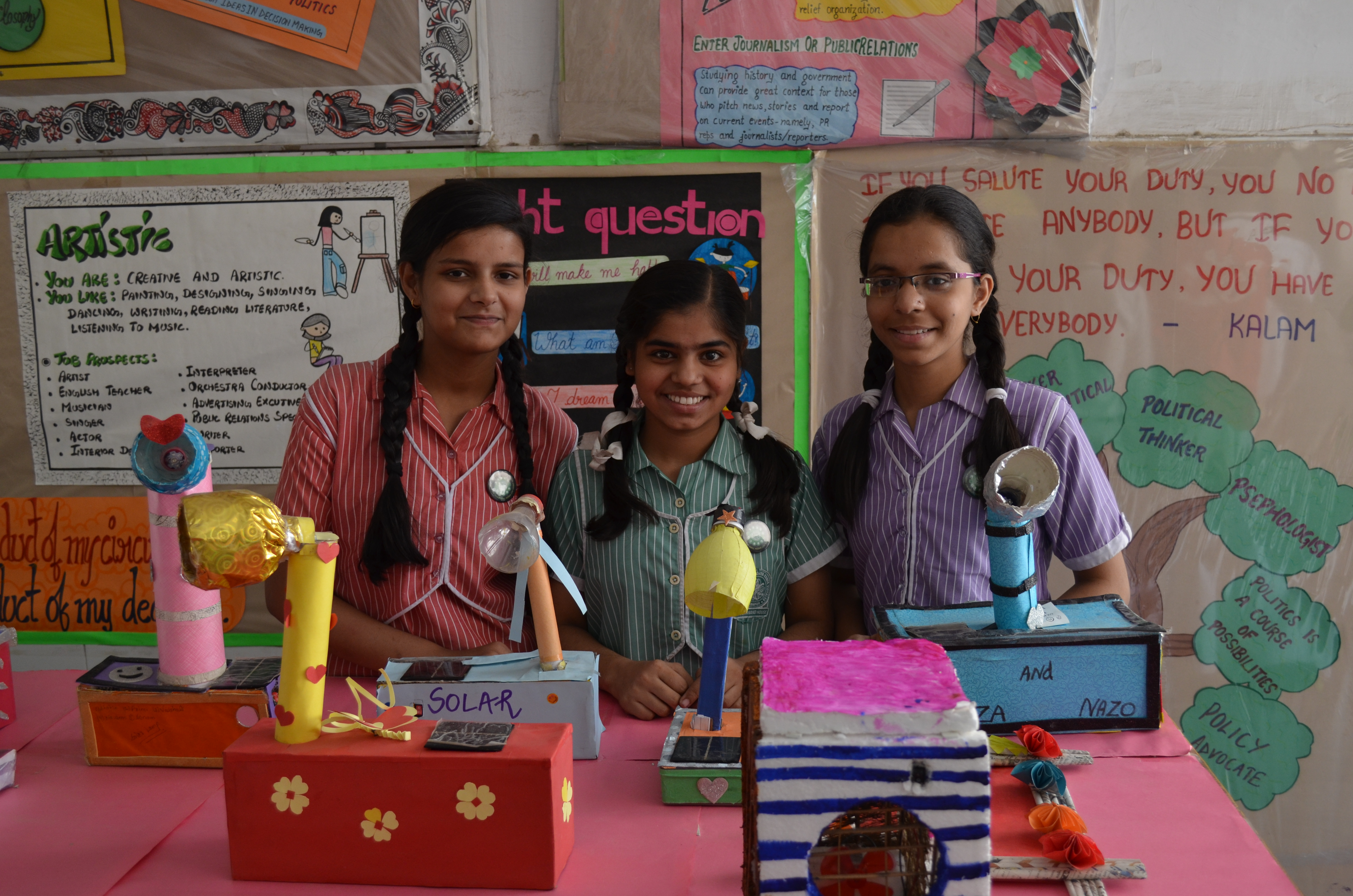 Students exhibiting their creations, created with the help of Teach for Green | Image courtesy: Teach For Green