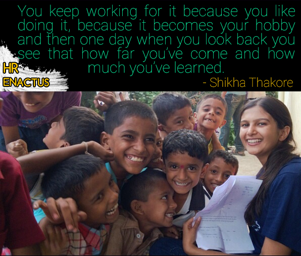 ENACTUS HR Volunteer Shikha Thakore with Underprivileged Children