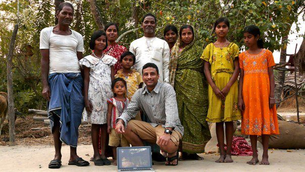 Kalyan with other villagers who were like strangers for him at first but are now his family