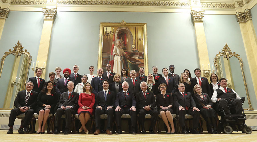 Canada's new Prime Minister Justin Trudeau (Front row 5th L) with his cabinet.