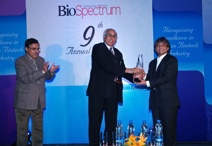 Supreet Deshpande being awarded at the BioSpectrum conference