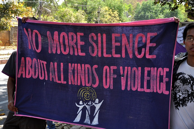 One of the banners used during the Voice Up campaign to raise voice against violence