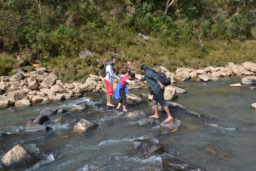 Attempting a stream crossing