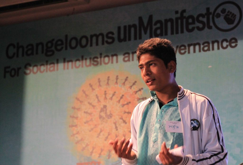 Arjun Rathod participating in UnManifesto's concluding event in Delhi