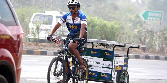 7000 kms ride on a Solar powered bicycle