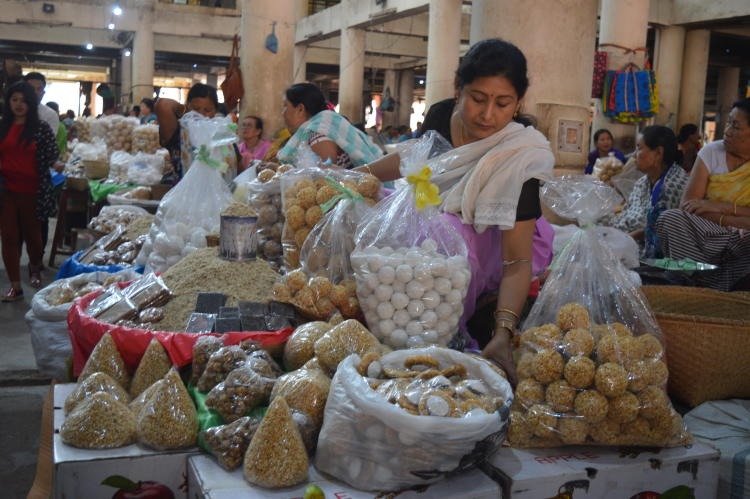 The traditional sweets being sold at the market | Image courtesy: Milaap