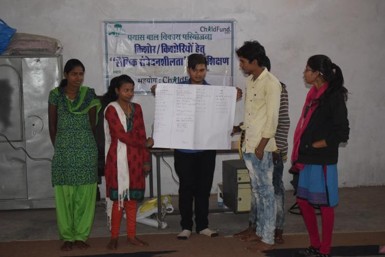 Youth from Bhabra village presenting their ideas after the orientation session | Image courtesy: Milaap