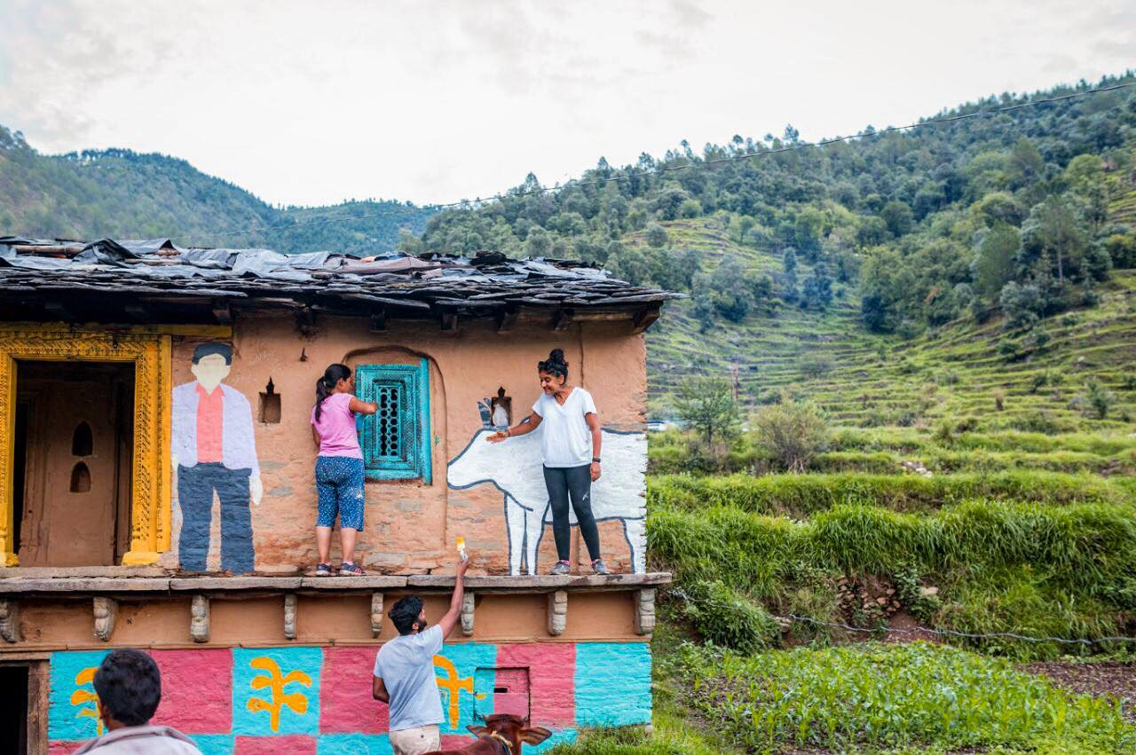 The first Wise Wall Project in Saur Village of Uttarakhand | Image courtesy : Vibhor Yadav