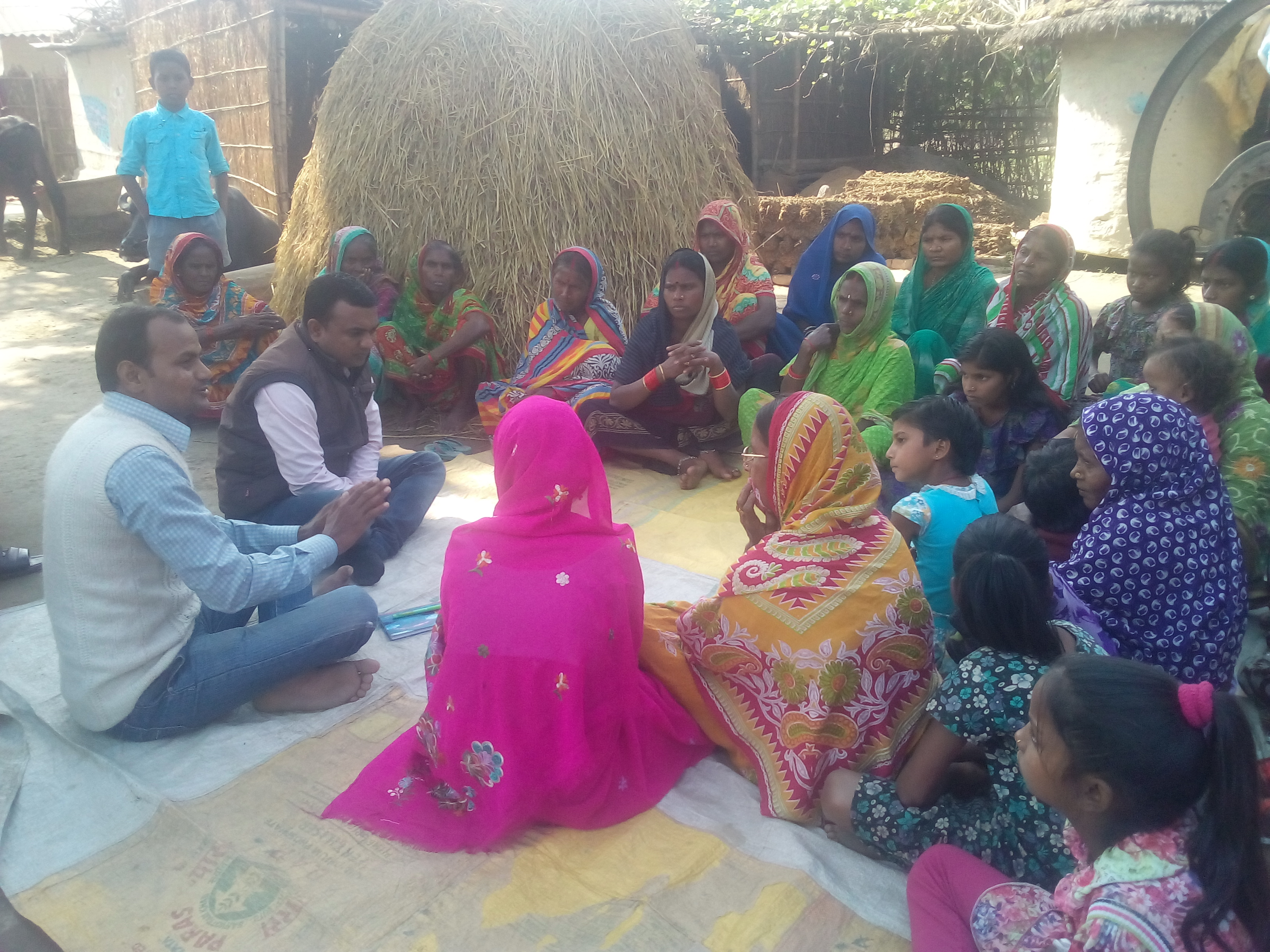 Deependra holds a regular community meeting with villagers | Image courtesy: Kasturba Kanya Education and Welfare Trust
