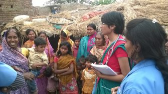 Dr. Taru Jindal on one of her visits to rural women in Bihar