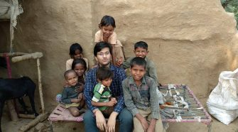 Ashwani Parashar with village kids.