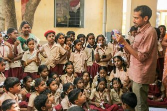 Subid Ahimsa during one of his sessions with the children