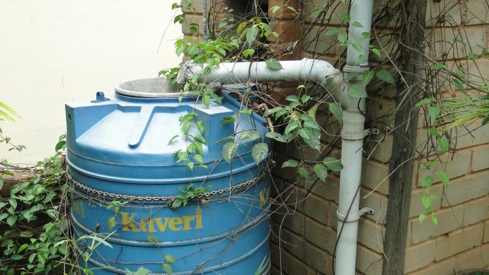 Water from Rainwater Harvestingis sored in these tanks.