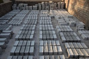 Bricks made out of recycled PPE kits