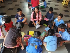 S.P.A.R.K NGO volunteers at work with the students