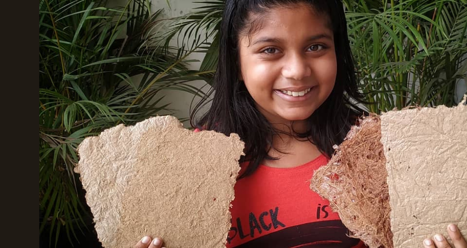11-year-old girl from Bengaluru makes paper out of kitchen waste